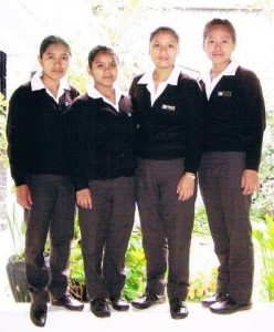 Scholars for auxiliary nurse: Paulina, Juana, Carmelina, Floridalma in der Uniform der Schule, from left to  right