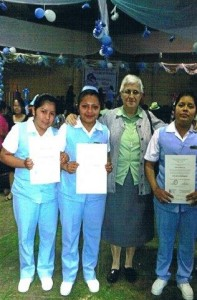 Francisca, Bertilia, Teresa, Santa 2013 with certifikates from left to rigt