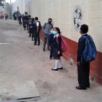 Queue in front of school
